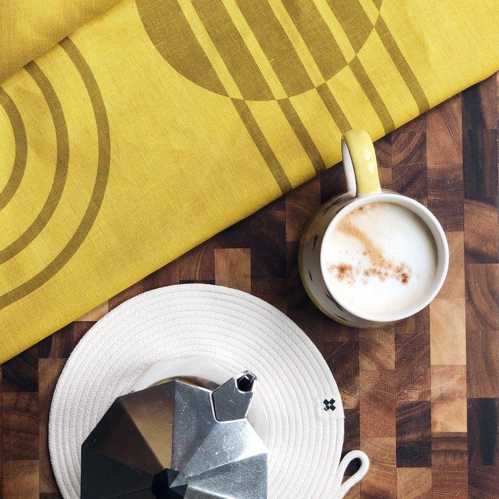 Ten & Co Tea Towel Arc Ochre on Yellow