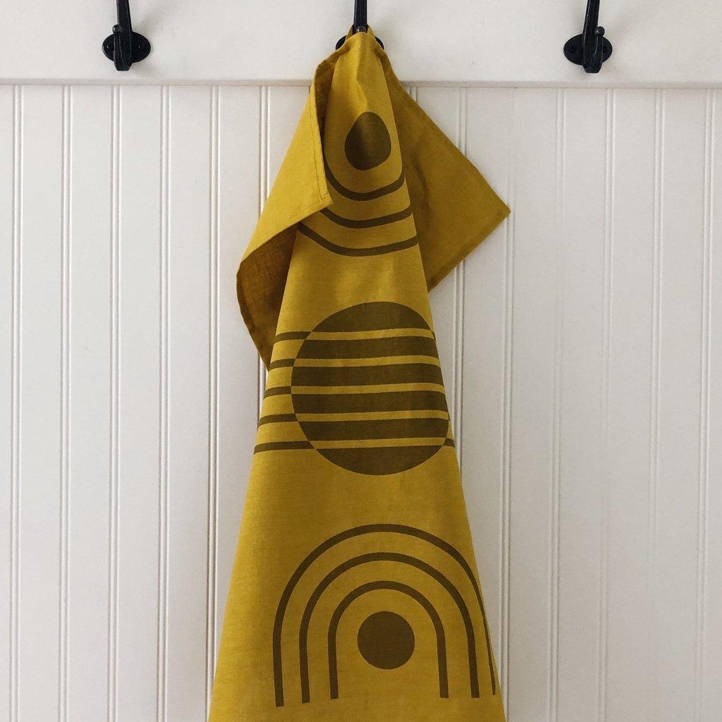 Tea Towel Arc Ochre on Yellow