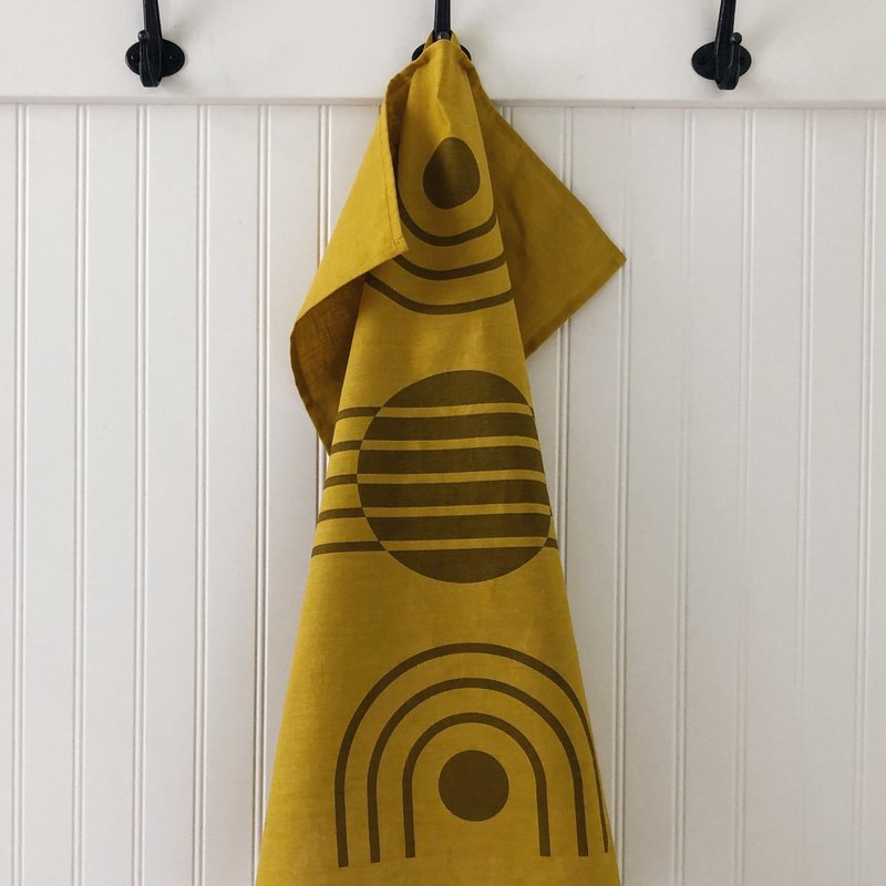 - Tea Towel Arc Ochre on Yellow