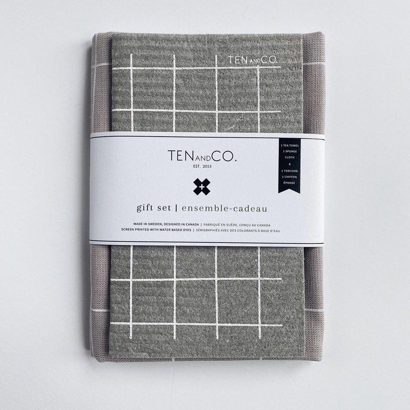 - Gift Set - Grid White on Warm Grey