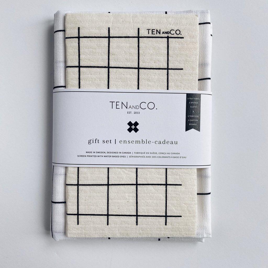 Ten & Co Gift Set - Grid Black on White