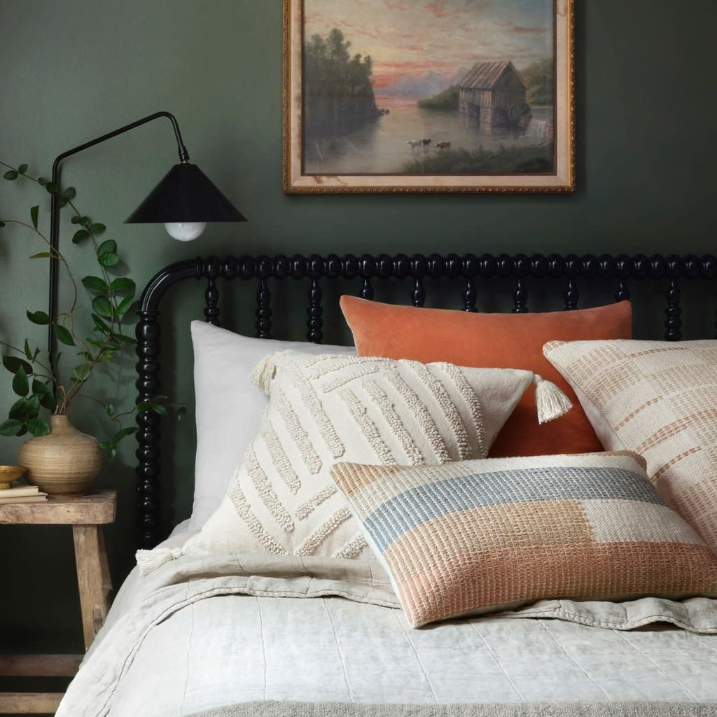 Coral/Blush Velvet and Linen Double Sided Pillow