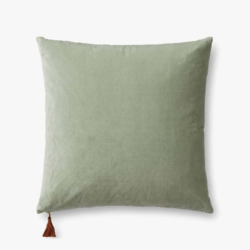 Loloi Green/Blue Velvet and Linen Double Sided Pillow