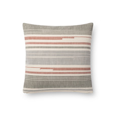 Grey/Coral Stripe Pillow Cover (18x18)