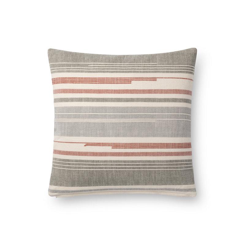 Loloi Grey/Coral Stripe Pillow Cover (18x18)