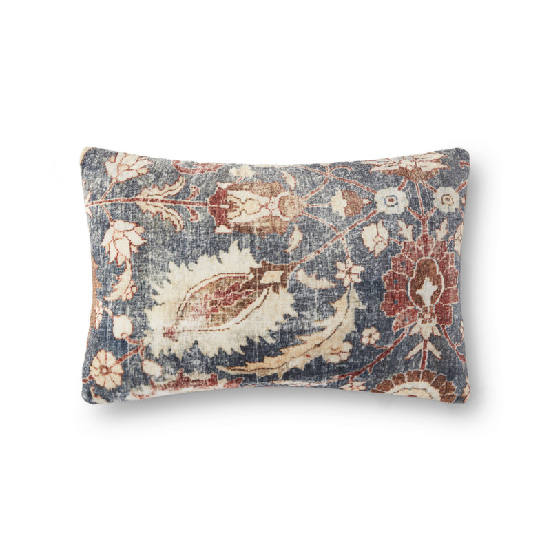 Loloi Velvet Distressed Floral Pillow Cover (13x21)