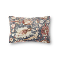 Velvet Distressed Floral Pillow Cover (13x21)
