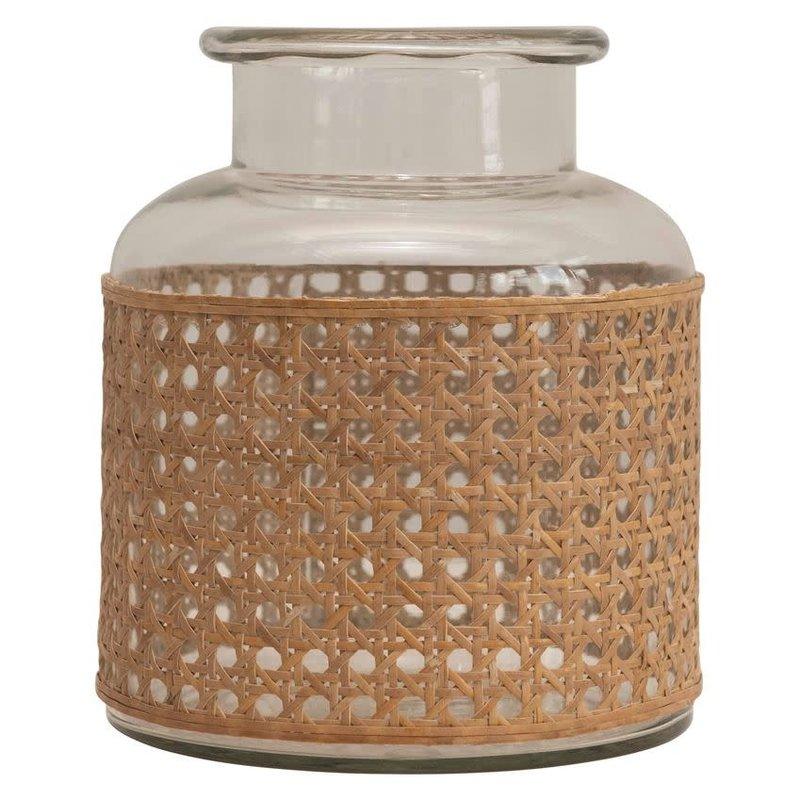 "Cane Wrapped Vase (8""Hx7""D)"