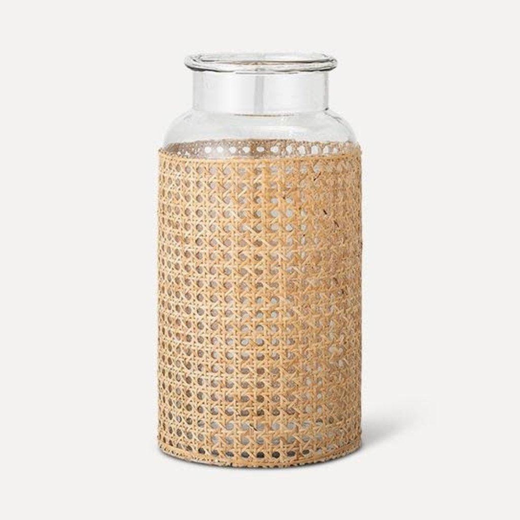 "- Cane Wrapped Vase (14""H x 7""D)"