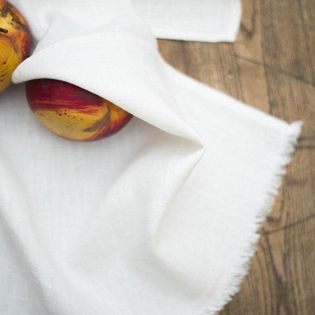 Linen Way Stonewash Linen Bilbao Hand Towel/Tea Towel- Ivory