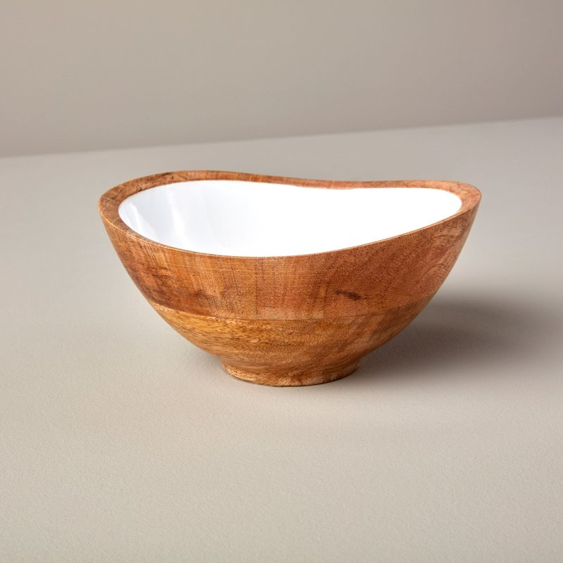 BeHome Mango Wood and White Enamel Bowl - Medium