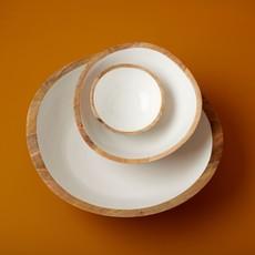 - Mango Wood and White Enamel Bowl - Medium