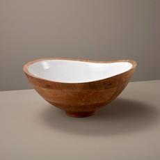 - Mango Wood and White Enamel Bowl - Large