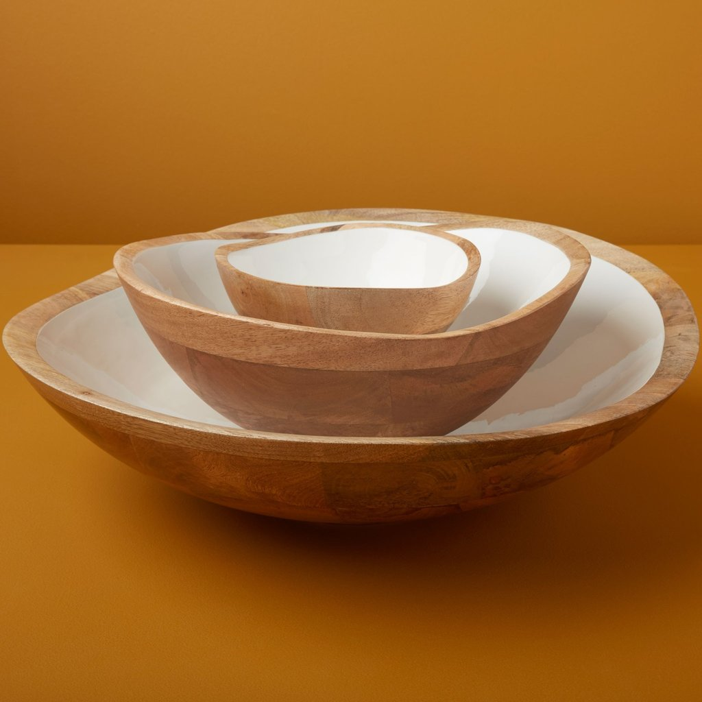 BeHome Mango Wood and White Enamel Bowl - Large