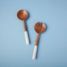 - White Marble & Wood with Gold Band Serving Set