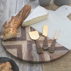 BeHome Rattan & Gold Cheese Set of 3