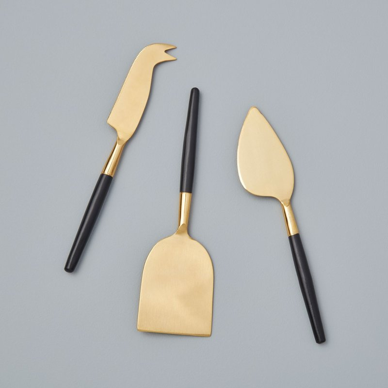 BeHome Black & Gold Cheese Set of 3