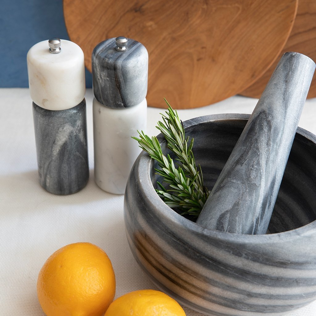 BeHome White and Gray Marble Pepper Mill
