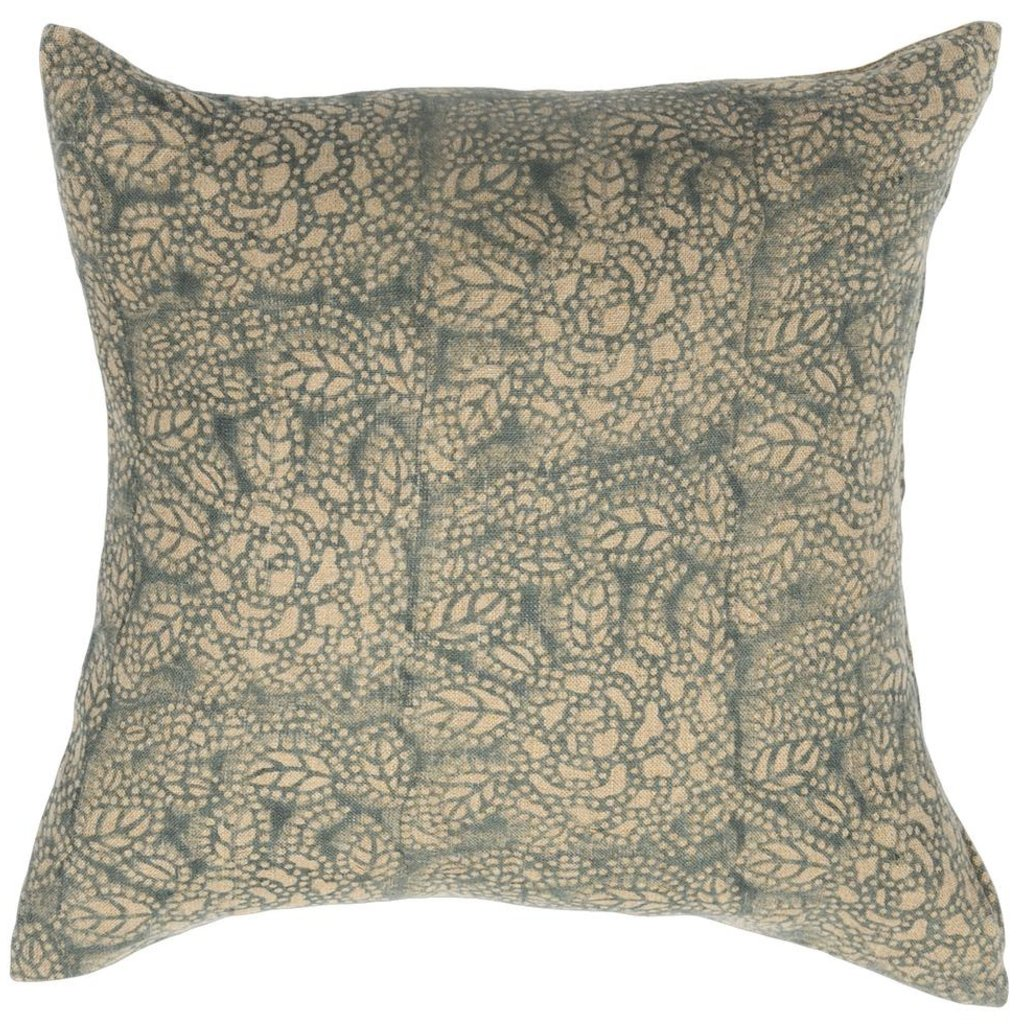 Filling Spaces Sicily Teal on Natural Pillow Cover