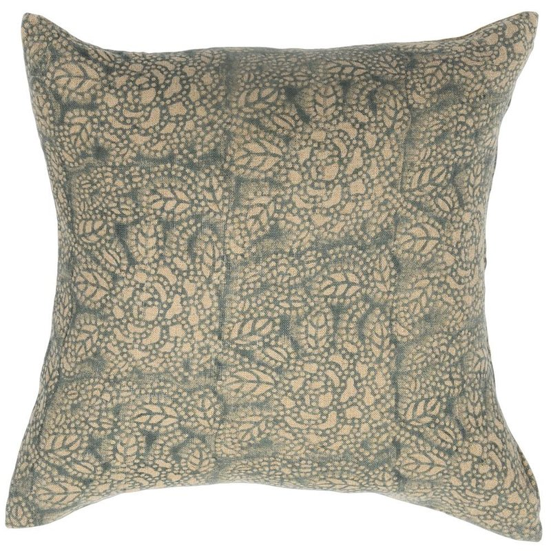 Sicily Teal on Natural Pillow Cover
