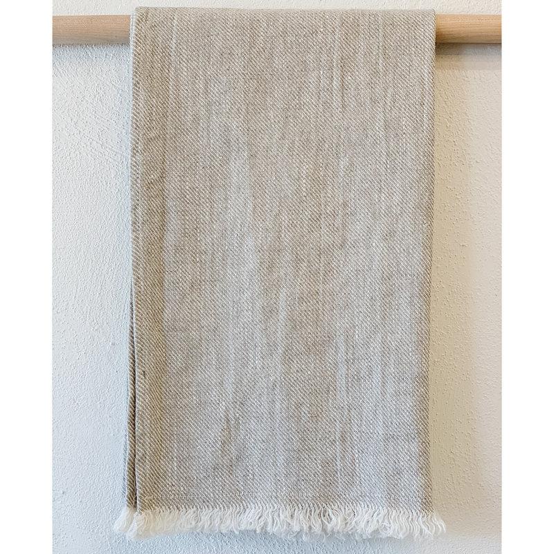 - Stonewash Linen Bilbao Hand Towel/Tea Towel- Beige