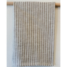 - Taupe Arman Stripe Linen Hand/Tea Towel