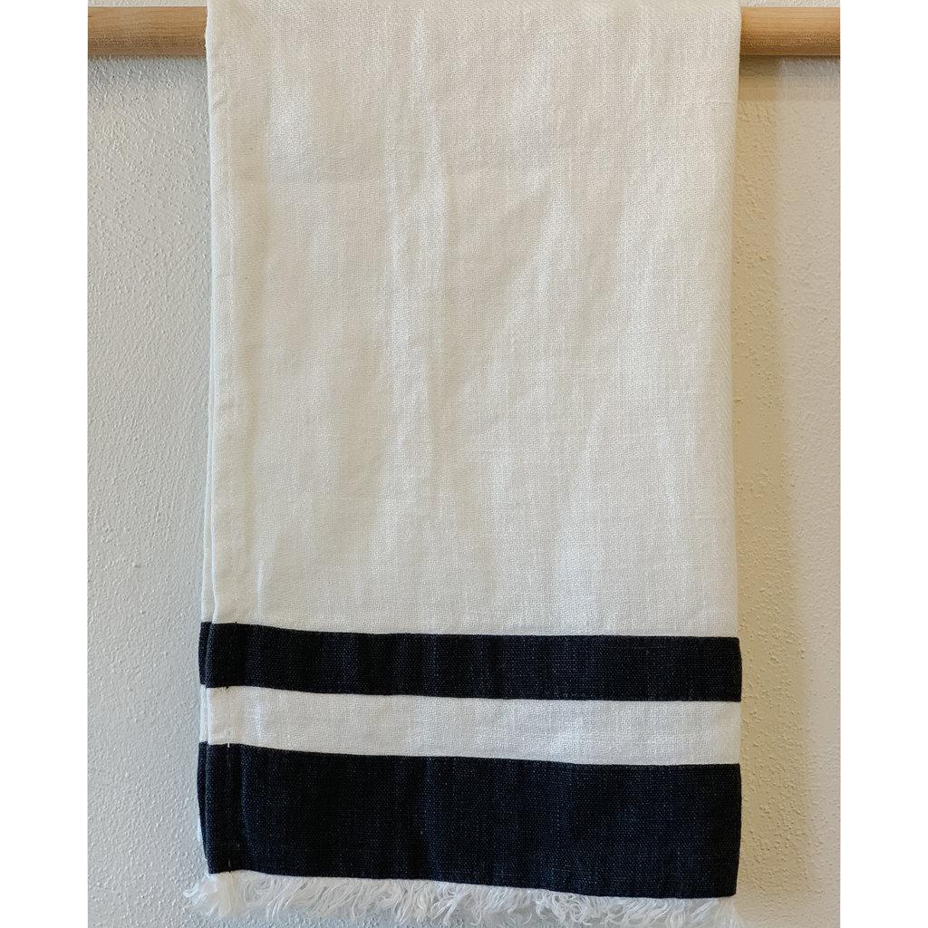 - Lipari White Dark Grey  Hand/Tea Towel - Stonewashed Linen
