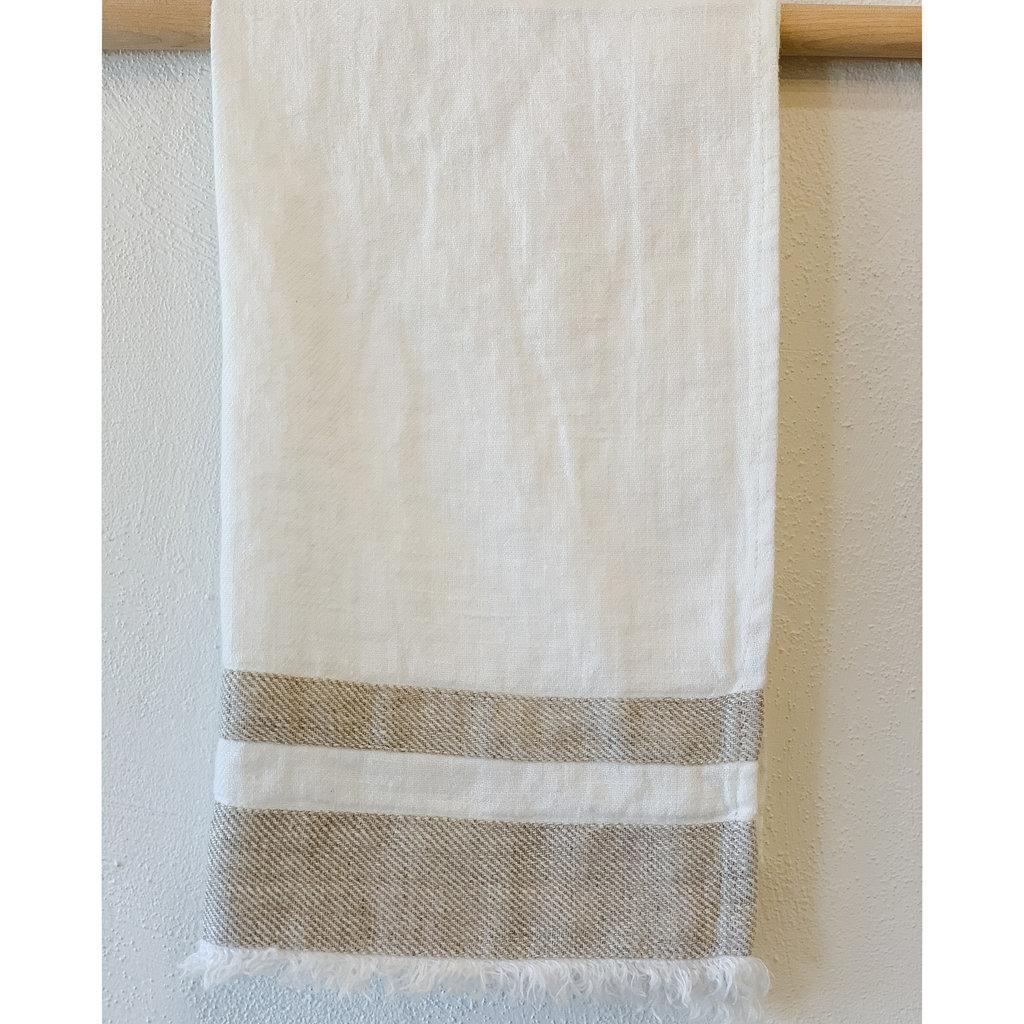 Linen Way Ivory/Beige  Stonewash Linen Bilbao Hand/Tea Towel