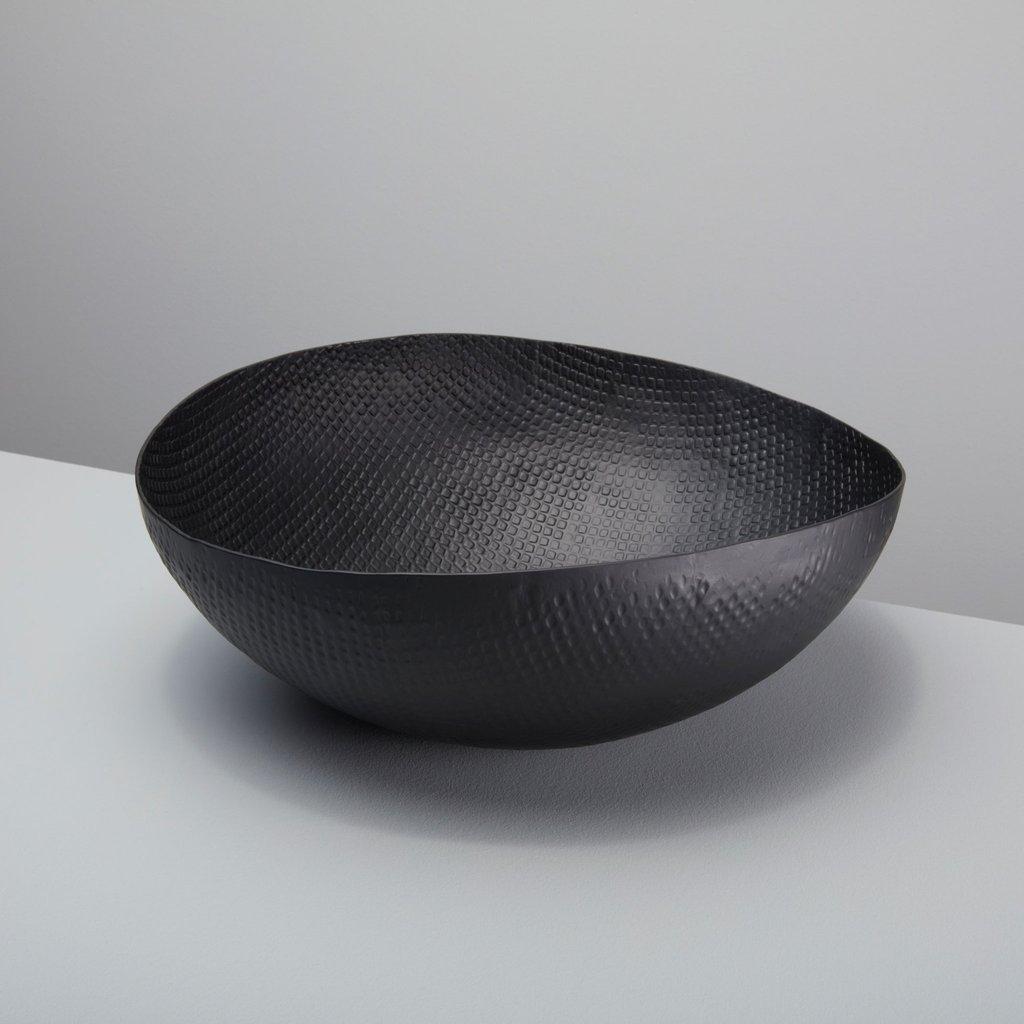 - Black Crosshatch Metal Bowl