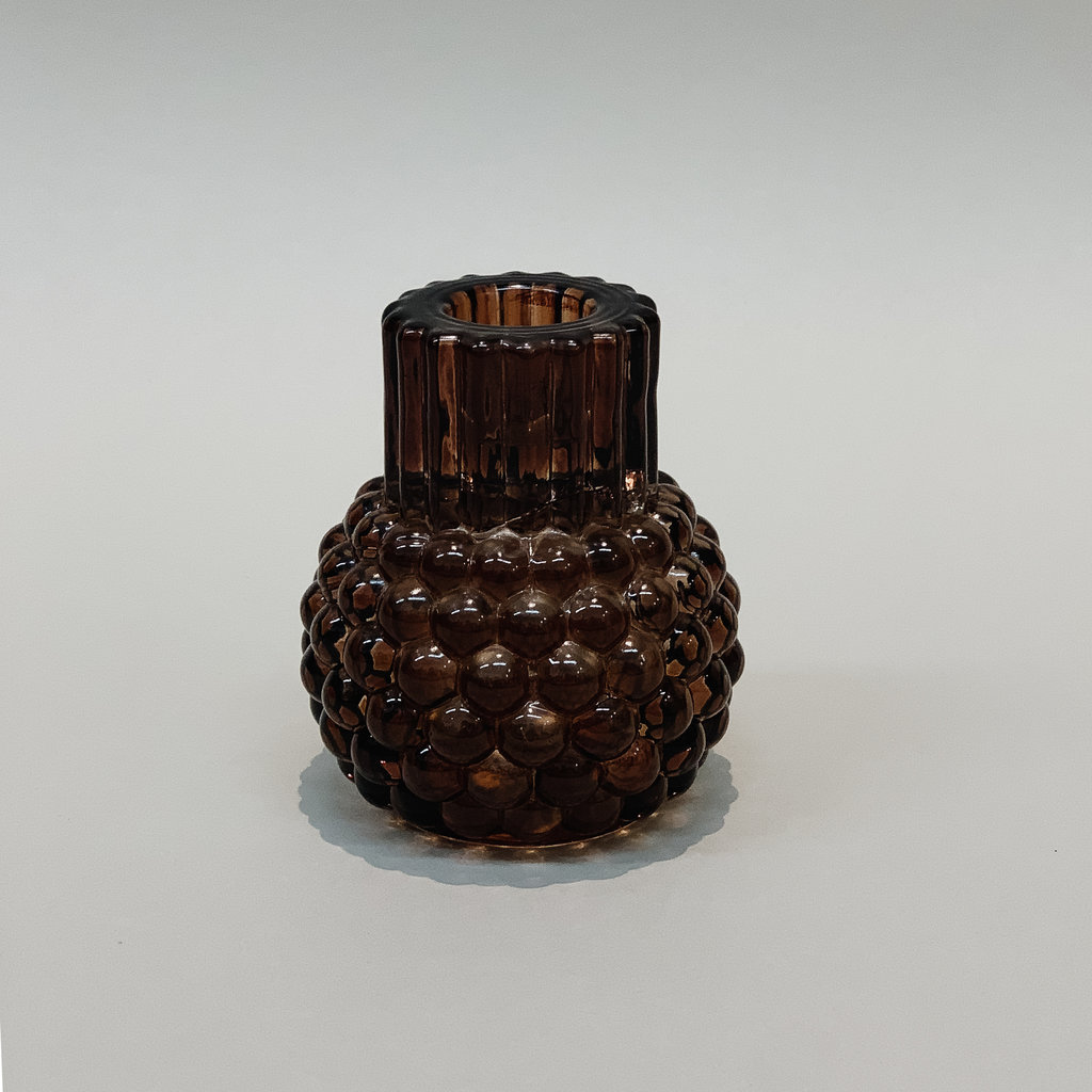 - Glass Hobnail Taper & Tealight Holder Rust