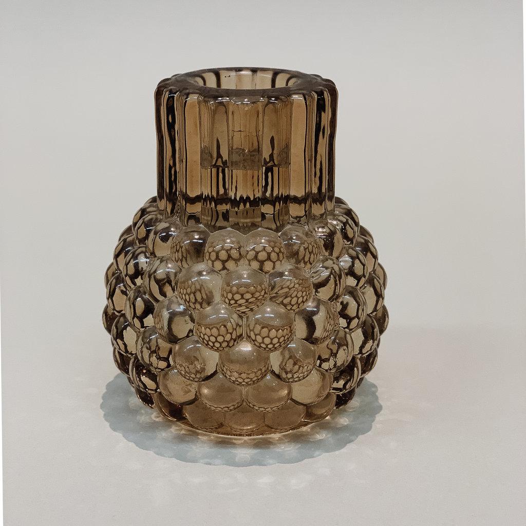 - Glass Hobnail Taper & Tealight Holder Slate