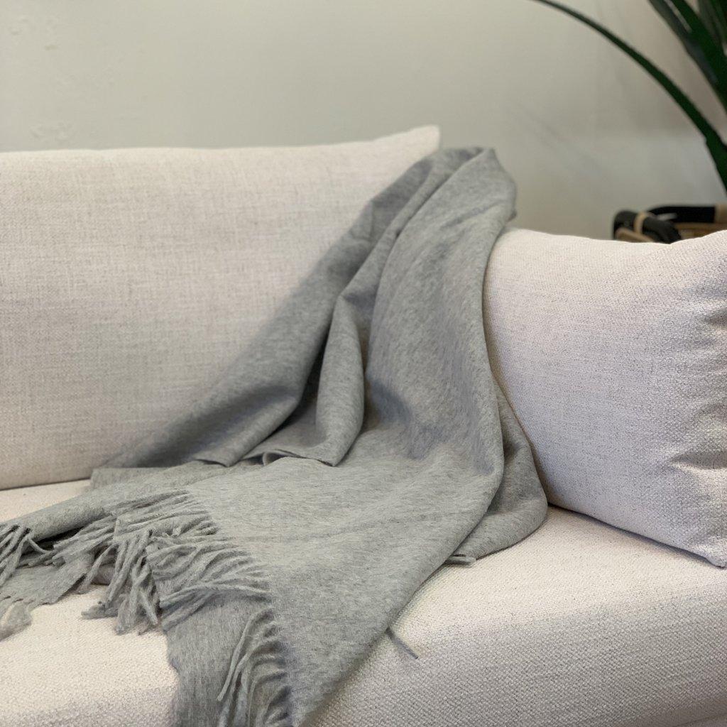 Heather Grey Alpaca/Merio Wool Throw