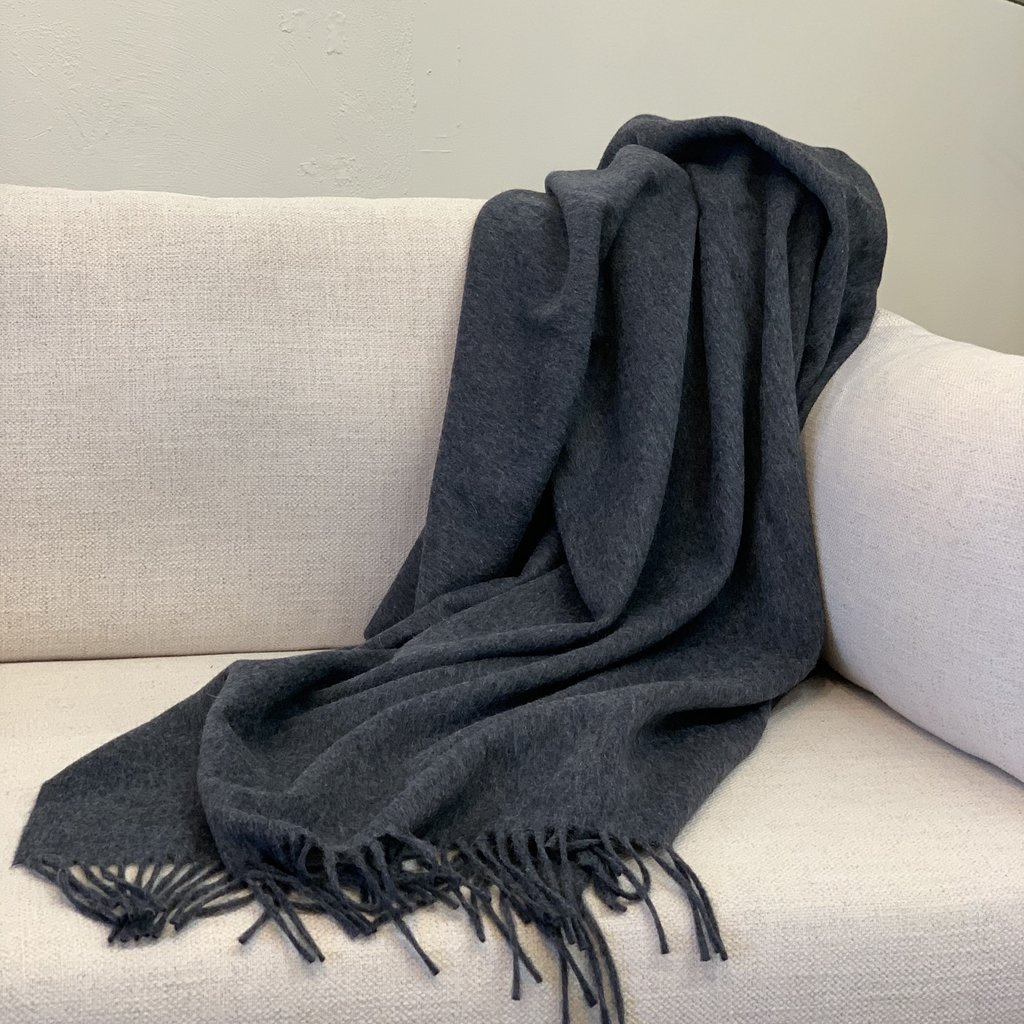 Charcoal Alpaca/Merio Wool Throw
