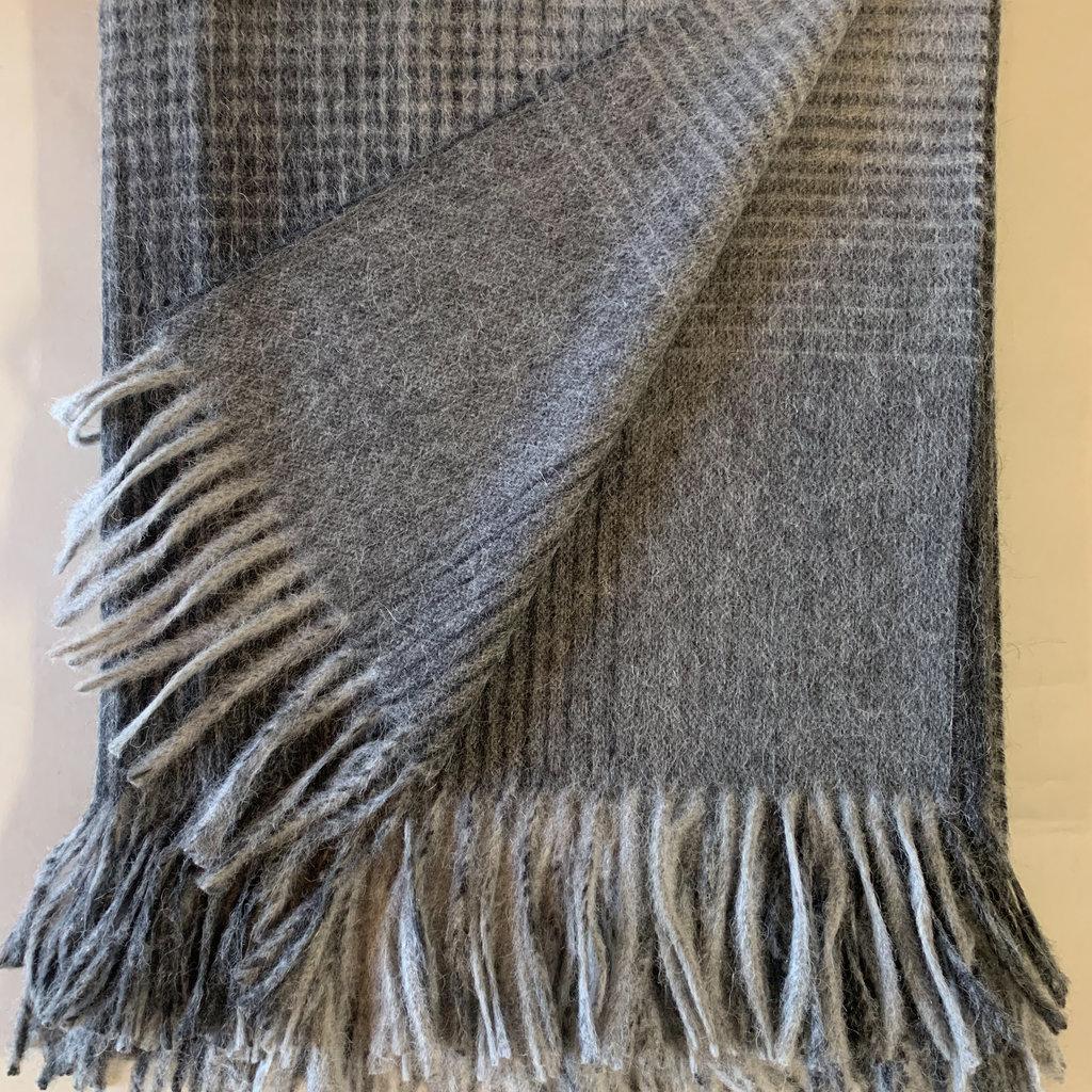 Charcoal Grid Alpaca/Merio Wool Throw