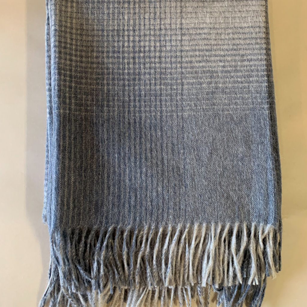 Steal Blue Grid Alpaca/Merio Wool Throw