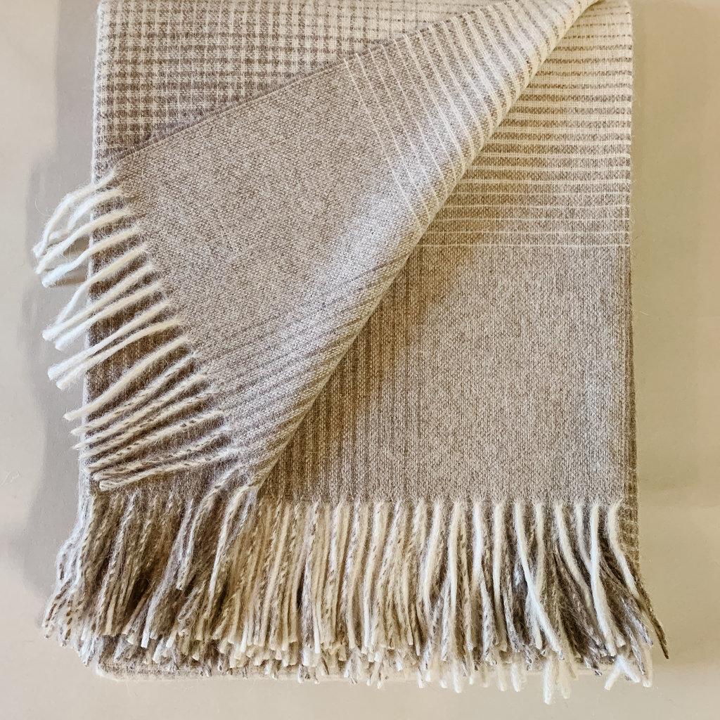 Beige Grid Alpaca/Merio Wool Throw