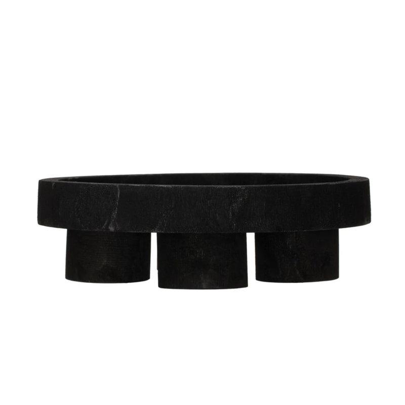Black Paulownia Footed Tray