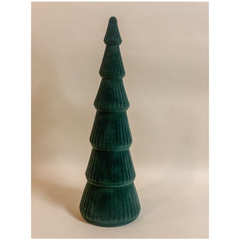 Flocked Wood Christmas Tree