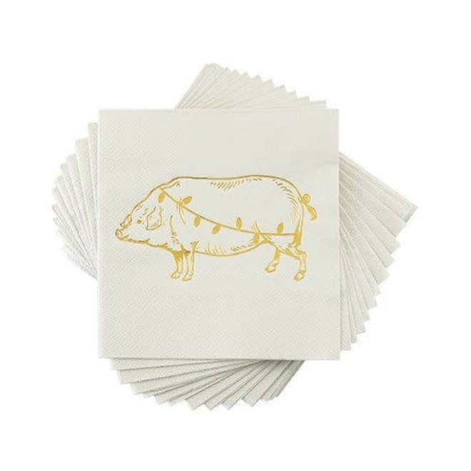 Christmas Light Pig Holiday Napkin by Cakewalk