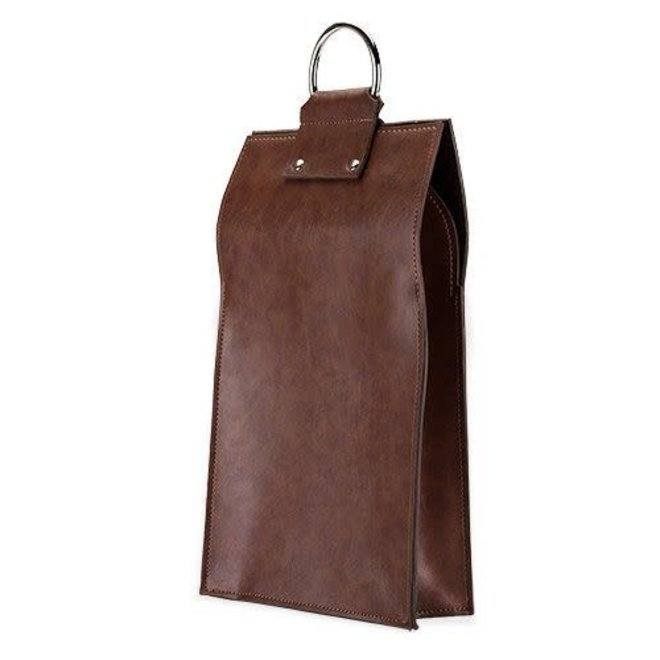 Admiral Faux Leather 2 Bottles Brown Wine Tote