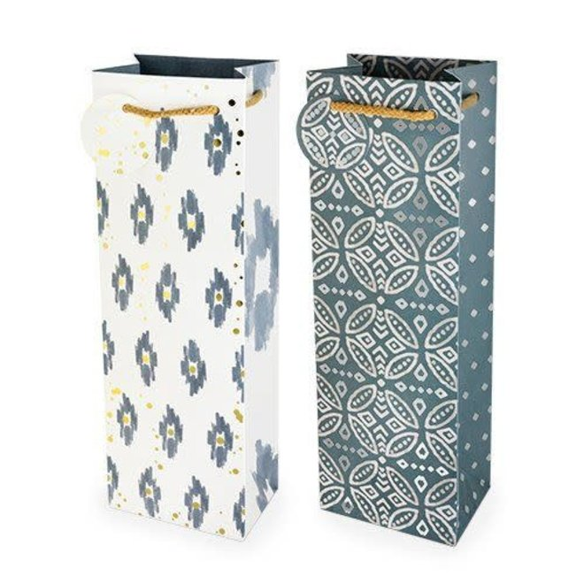 Indigo and Foil Bottle Bag (assorted)