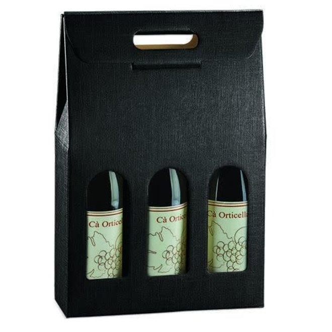 Black 3 Bottle Wine Carrier