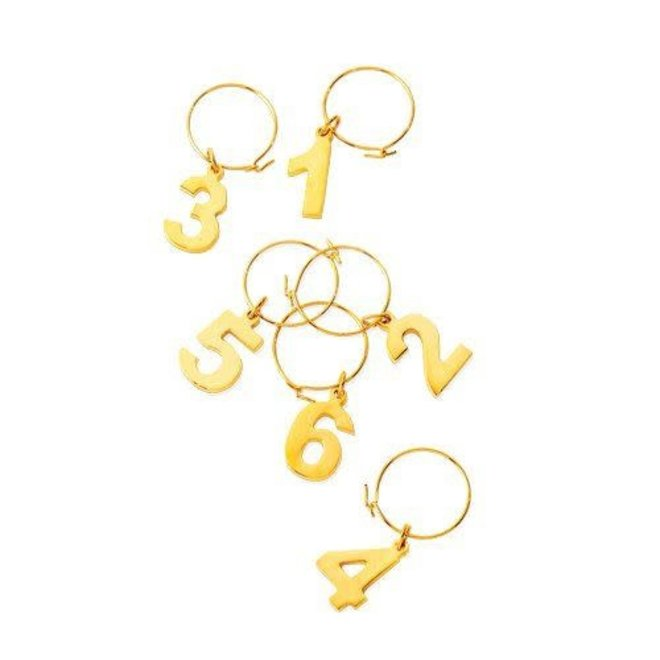 Gold Plated Number Wine Charms