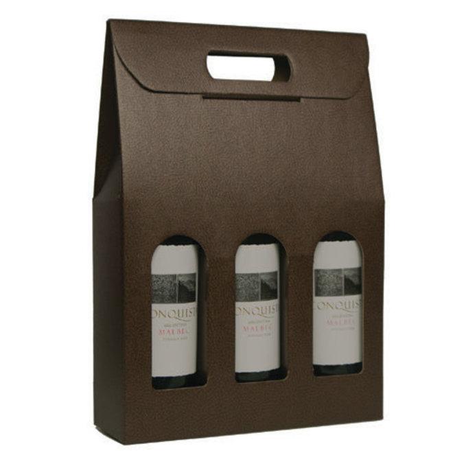 Pelle Marrone (Brown) 3 Bottle Carrier