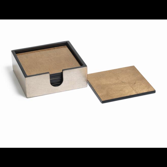 Tonal Gold Square Set of 6 Coasters
