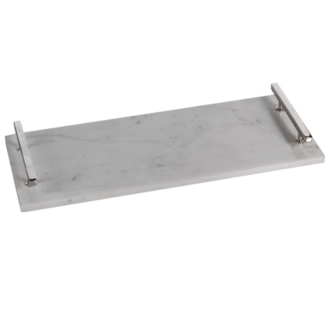 Rectangular Marble Tray with Silver Handle