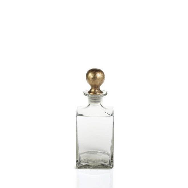 Square Decanter with Antique Brass Ball Stopper