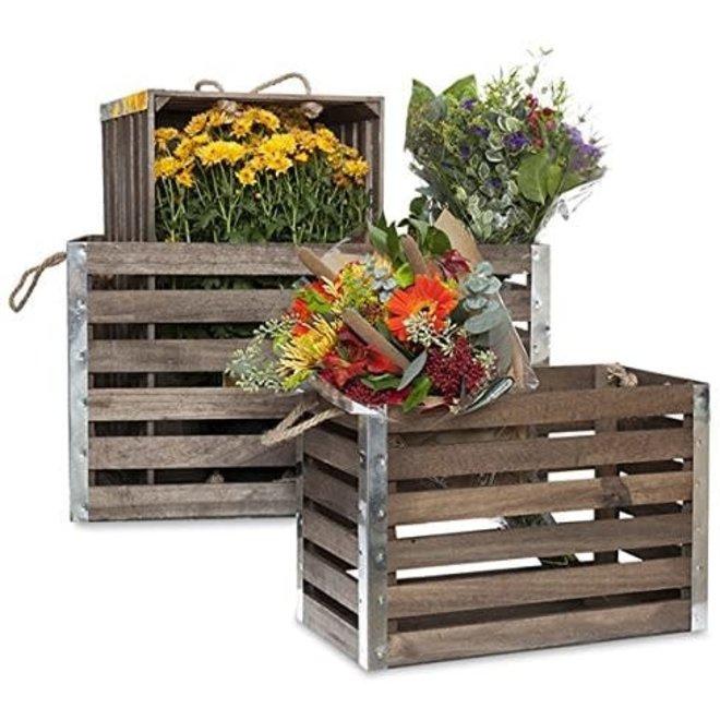 Wood Crate with Rope Handles & Metal Corners