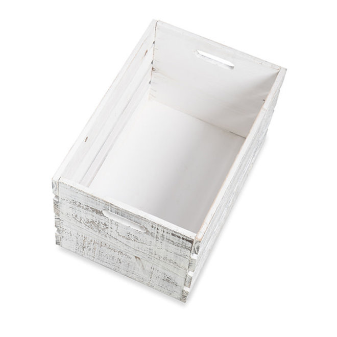 White Wooden Storage Crate with In-Handles