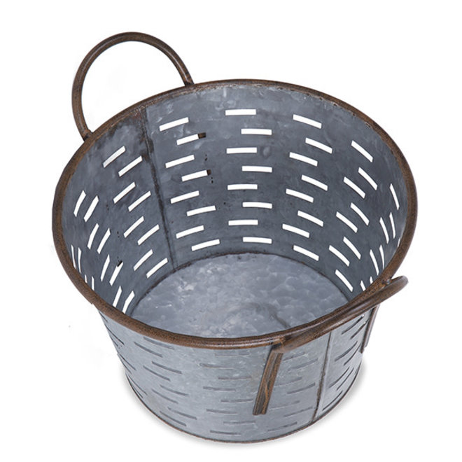 Jillian Round Galvanized Metal Container with Cutout Design